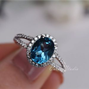 7*9 Oval London Blue Topaz Ring Topaz Engagement Ring/ Wedding Ring 925 Sterling Silver Ring Anniversary Ring Silver Gemstone Ring | Natural genuine Gemstone rings, simple unique alternative gemstone engagement rings. #rings #jewelry #bridal #wedding #jewelryaccessories #engagementrings #weddingideas #affiliate #ad