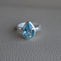 Natural Blue Topaz Ring-handmade Silver Ring-925 Sterling Silver Ring-teardrop Blue Topaz Ring-gift For Her-december Birthstone-promise Ring | Natural genuine Gemstone jewelry. Buy crystal jewelry, handmade handcrafted artisan jewelry for women.  Unique handmade gift ideas. #jewelry #beadedjewelry #beadedjewelry #gift #shopping #handmadejewelry #fashion #style #product #jewelry #affiliate #ad