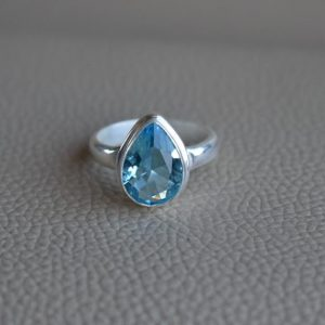 Shop Topaz Rings! Natural Blue Topaz Ring-Handmade Silver Ring-925 Sterling Silver Ring-Teardrop Blue Topaz Ring-Gift for her-December Birthstone-Promise Ring | Natural genuine Topaz rings, simple unique handcrafted gemstone rings. #rings #jewelry #shopping #gift #handmade #fashion #style #affiliate #ad
