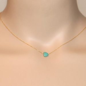 Shop Turquoise Necklaces! Tiny turquoise necklace – tiny heart necklace – delicate and dainty necklace – a little turquoise heart on a 14k gold vermeil chain | Natural genuine Turquoise necklaces. Buy crystal jewelry, handmade handcrafted artisan jewelry for women.  Unique handmade gift ideas. #jewelry #beadednecklaces #beadedjewelry #gift #shopping #handmadejewelry #fashion #style #product #necklaces #affiliate #ad