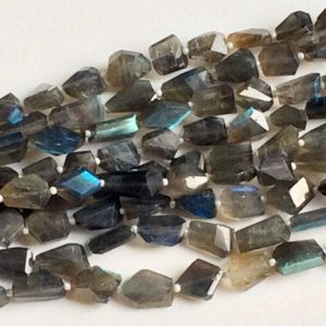 Shop Labradorite Chip & Nugget Beads! 10-12mm Labradorite Step Cut Faceted Tumbles, Blue Fire Labradorite Tumble Beads, Natural Labradorite For Jewelry, 7 Inch, 13 Pcs – AGA90 | Natural genuine chip Labradorite beads for beading and jewelry making.  #jewelry #beads #beadedjewelry #diyjewelry #jewelrymaking #beadstore #beading #affiliate #ad
