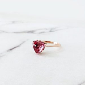 14K Rose Gold Pink Tourmaline Ring, Solitaire engagement ting, Unique engagement ring, Vintage ring, Trillion engagement ring, Gemstone ring | Natural genuine Pink Tourmaline rings, simple unique alternative gemstone engagement rings. #rings #jewelry #bridal #wedding #jewelryaccessories #engagementrings #weddingideas #affiliate #ad