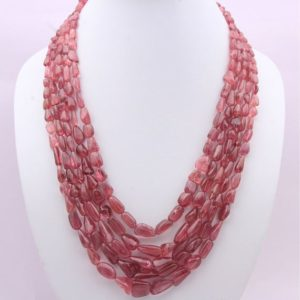 Shop Pink Tourmaline Necklaces! 5 Strands 972.00 Carats Natural Pink Tourmaline Tumbled Shape Beaded Necklace With Adjustable Silk Cord Closure, Ready To Wear Necklace, | Natural genuine Pink Tourmaline necklaces. Buy crystal jewelry, handmade handcrafted artisan jewelry for women.  Unique handmade gift ideas. #jewelry #beadednecklaces #beadedjewelry #gift #shopping #handmadejewelry #fashion #style #product #necklaces #affiliate #ad