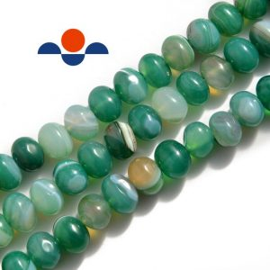 "Shop Agate Chip & Nugget Beads! Green Stripe Agate Irregular Pebble Nugget Beads Approx 10x12mm 15.5"" Per Strand 