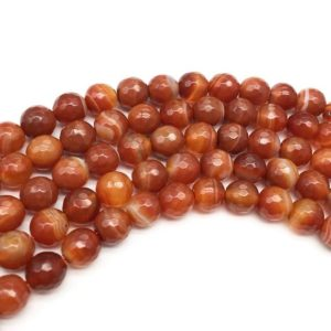 Shop Red Agate Beads! 8mm Faceted Red Agate Beads, Gemstone Beads, Wholesale Beads | Natural genuine beads Agate beads for beading and jewelry making.  #jewelry #beads #beadedjewelry #diyjewelry #jewelrymaking #beadstore #beading #affiliate #ad