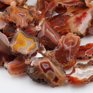 "Rare Natural Red Condor Agate Beads Large Faceted Slice Slab Focal Pendant Freeform Unique Organic Irregular Geode Shape 15.5"" Strand 