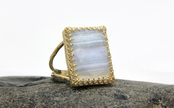 Gold Agate Ring,lace Agate Stack Ring,double Band Ring,gold Rings,14k Solid Gold Ring,rectangle Ring,gemstone Ring,g