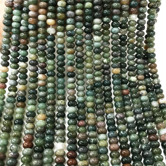 8x5mm Indian Agate Rondelle Beads, Rondelle Stone Beads, Gemstone Beads