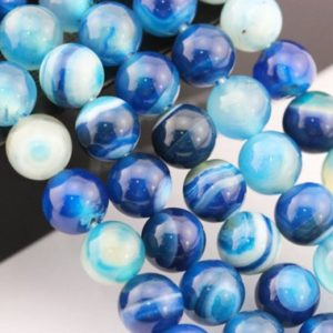 "Shop Agate Round Beads! 2.0mm Hole Blue Stripe Agate Smooth Round Beads 8mm 10mm 15.5"" Strand 