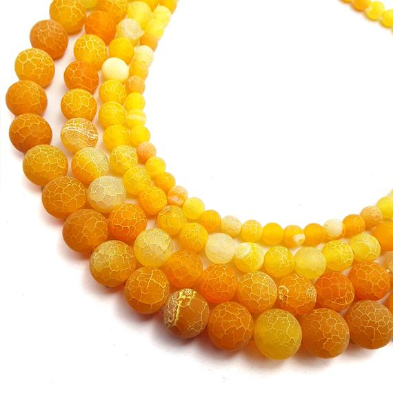 "Orange Fire Agate Cracked Matte Round Beads 4mm 6mm 8mm 10mm 12mm 15.5"" Strand"