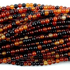 Shop Agate Round Beads! Sardonyx Agate Beads, 4mm Round Beads, 15 Inch, Full strand, Approx 100 beads, Hole 0.8 mm (397054003) | Natural genuine round Agate beads for beading and jewelry making.  #jewelry #beads #beadedjewelry #diyjewelry #jewelrymaking #beadstore #beading #affiliate #ad