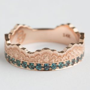 Shop Alexandrite Rings! Half Eternity Band, Lace Crown Alexandrite Ring, Alexandrite Lace Crown Ring, Rose Gold Lace Ring, Gold Crown Ring, Birthstone Ring, Wedding | Natural genuine Alexandrite rings, simple unique alternative gemstone engagement rings. #rings #jewelry #bridal #wedding #jewelryaccessories #engagementrings #weddingideas #affiliate #ad