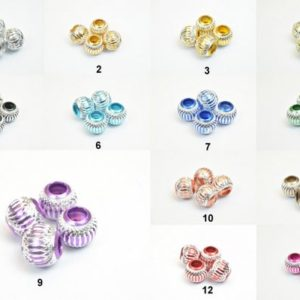 Shop Beads With Large Holes! Aluminum Round Beads European Beads With Large Hole Fit Charm European Bracelets or Necklace For Jewelry Making | Shop jewelry making and beading supplies, tools & findings for DIY jewelry making and crafts. #jewelrymaking #diyjewelry #jewelrycrafts #jewelrysupplies #beading #affiliate #ad