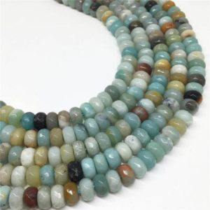 Shop Amazonite Faceted Beads! 8x5mm Faceted Amazonite Rondelle Beads, Gemstone Beads, Wholesale Beads | Natural genuine faceted Amazonite beads for beading and jewelry making.  #jewelry #beads #beadedjewelry #diyjewelry #jewelrymaking #beadstore #beading #affiliate #ad