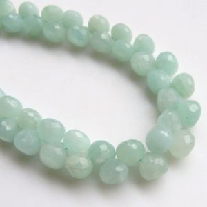 """Shop Amazonite Bead Shapes! Faceted Green Amazonite Onion Shaped Briolette Beads, Natural Amazonite Gemstone Beads, 9mm / 7mm Amazonite Beads, Sold As 8"""" / 4"""", Gds1364 