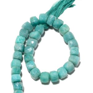 Shop Amazonite Bead Shapes! Natural Amazonite Beads, Faceted Box Beads, Gemstone Beads, 7mm Beads, 9 Inch Strand, Sku-bb49 | Natural genuine other-shape Amazonite beads for beading and jewelry making.  #jewelry #beads #beadedjewelry #diyjewelry #jewelrymaking #beadstore #beading #affiliate #ad