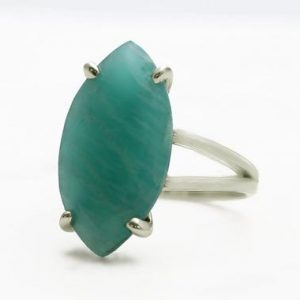 Shop Amazonite Jewelry! Amazonite ring,silver statement ring,wedding ring,bridesmaid rings,large cocktail ring,marquise ring,gemstone ring,sterling silver rings | Natural genuine Amazonite jewelry. Buy handcrafted artisan wedding jewelry.  Unique handmade bridal jewelry gift ideas. #jewelry #beadedjewelry #gift #crystaljewelry #shopping #handmadejewelry #wedding #bridal #jewelry #affiliate #ad