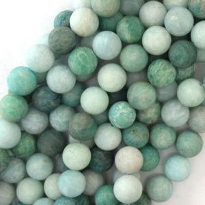 "Shop Amazonite Round Beads! 10mm matte Russian green amazonite round beads 15.5"" strand 40886 