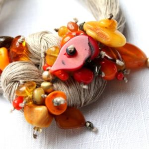 Macrame Bib Necklace Red Coral Baltic Amber Statement Jewelry Linen Fiber Necklace Gray Orange OOAK  Seven Seas | Natural genuine Gemstone necklaces. Buy crystal jewelry, handmade handcrafted artisan jewelry for women.  Unique handmade gift ideas. #jewelry #beadednecklaces #beadedjewelry #gift #shopping #handmadejewelry #fashion #style #product #necklaces #affiliate #ad
