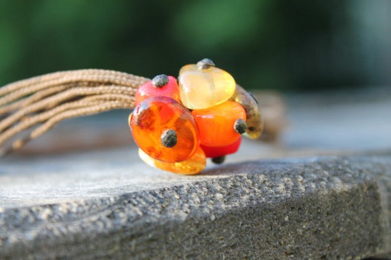 Cluster Pendant Natural Stones Necklace Coral Baltic Amber Orange Yellow Red Brown Choker Currant Rowanberry Summer Jewelry Birthday Gift