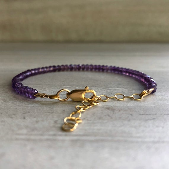Gold Adjustable Bracelet For Women | Amethyst Bead Bracelet |  2 Inch Extender Chain | Small Or Large Wrists | Jewelry Gift For Girlfriend