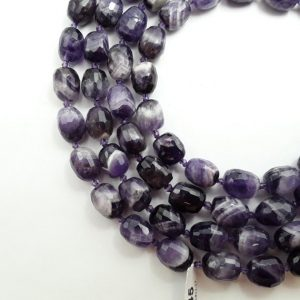 "Shop Amethyst Chip & Nugget Beads! Chevron Amethyst Faceted Barrel Drum Beads 13x15mm 15.5"" Strand 