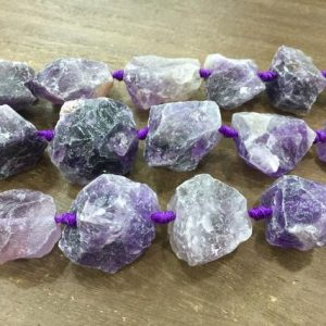 Shop Amethyst Beads! Large Amethyst Nugget beads Raw Rough Hammered Amethyst Quartz Beads Center Drilled Graduated Gemstone jewelry making supplies full strand | Natural genuine beads Amethyst beads for beading and jewelry making.  #jewelry #beads #beadedjewelry #diyjewelry #jewelrymaking #beadstore #beading #affiliate #ad