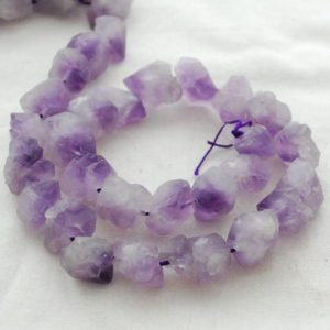 "Raw Natural Lavender Amethyst Semi-precious Gemstone Chunky Nugget Beads – approx 11mm – 13mm x 15mm – 18mm – approx 15"" strand 