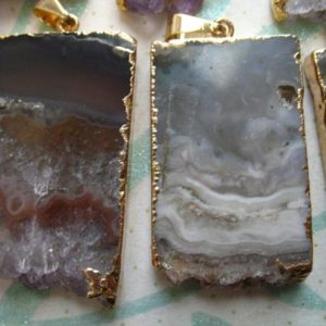 Shop Amethyst Bead Shapes! 1-10 pc, Amethyst STALACTITE Slice Slab Pendant Charm, 24k Gold Electroplated, ap41.6tl | Natural genuine other-shape Amethyst beads for beading and jewelry making.  #jewelry #beads #beadedjewelry #diyjewelry #jewelrymaking #beadstore #beading #affiliate #ad