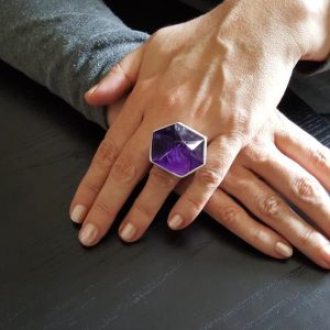 Shop Amethyst Rings! Statement Ring Amethyst And Sterling Silver – One Of A Kind – Natural Art – Purple And Silver – Big Ring – Natural Gemstone – Gift For Her | Natural genuine Amethyst rings, simple unique handcrafted gemstone rings. #rings #jewelry #shopping #gift #handmade #fashion #style #affiliate #ad
