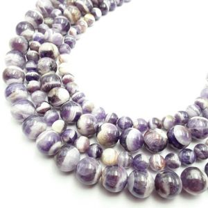 "Chevron Amethyst Smooth Round Beads 4mm 6mm 8mm 10mm 12mm Approx 15.5"" Strand 