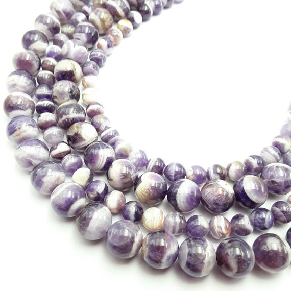 """Chevron Amethyst Smooth Round Beads 4mm 6mm 8mm 10mm 12mm Approx 15.5"""" Strand"""