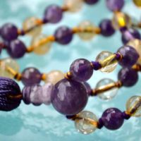 Ametrine, Amethyst, Citrine, rarest Hand Knotted Mala Beads Necklace 108, Prayer Beads, yoga Beads, Ametrine Mala Necklace, Yoga Jewelry | Natural genuine Gemstone jewelry. Buy crystal jewelry, handmade handcrafted artisan jewelry for women.  Unique handmade gift ideas. #jewelry #beadedjewelry #beadedjewelry #gift #shopping #handmadejewelry #fashion #style #product #jewelry #affiliate #ad