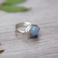 Angelite Round Gemstone Wire-wrapped Silver Ring 8mm Bead Aquarius Jewelry | Natural genuine Gemstone jewelry. Buy crystal jewelry, handmade handcrafted artisan jewelry for women.  Unique handmade gift ideas. #jewelry #beadedjewelry #beadedjewelry #gift #shopping #handmadejewelry #fashion #style #product #jewelry #affiliate #ad