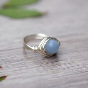Angelite Round Gemstone Wire-wrapped Silver Ring 8mm Bead Aquarius Jewelry | Natural genuine Angelite rings, simple unique handcrafted gemstone rings. #rings #jewelry #shopping #gift #handmade #fashion #style #affiliate #ad