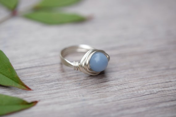 Angelite Round Gemstone Wire-wrapped Silver Ring 8mm Bead Aquarius Jewelry