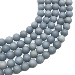 Shop Angelite Beads! 10mm Matte Angelite Beads, Round Gemstone Beads, Wholesale Beads | Natural genuine round Angelite beads for beading and jewelry making.  #jewelry #beads #beadedjewelry #diyjewelry #jewelrymaking #beadstore #beading #affiliate #ad