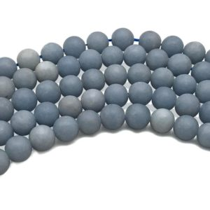 Shop Angelite Beads! 8mm Matte Angelite Beads, Round Gemstone Beads, Wholesale Beads | Natural genuine round Angelite beads for beading and jewelry making.  #jewelry #beads #beadedjewelry #diyjewelry #jewelrymaking #beadstore #beading #affiliate #ad