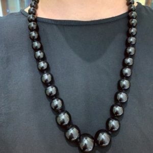 Antique 19th century Whitby jet beads with a gold clasp, 26 inches | Natural genuine Jet necklaces. Buy crystal jewelry, handmade handcrafted artisan jewelry for women.  Unique handmade gift ideas. #jewelry #beadednecklaces #beadedjewelry #gift #shopping #handmadejewelry #fashion #style #product #necklaces #affiliate #ad