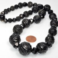 Antique Victorian Fancy Carved Whitby Jet Bead Necklace | Natural genuine Gemstone jewelry. Buy crystal jewelry, handmade handcrafted artisan jewelry for women.  Unique handmade gift ideas. #jewelry #beadedjewelry #beadedjewelry #gift #shopping #handmadejewelry #fashion #style #product #jewelry #affiliate #ad
