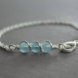 Shop Aquamarine Bracelets! Dainty sterling silver bracelet with aquamarine stones, Chain bracelet, Beaded bar bracelet, Aquamarine bracelet, Bar bracelet – BR011 | Natural genuine Aquamarine bracelets. Buy crystal jewelry, handmade handcrafted artisan jewelry for women.  Unique handmade gift ideas. #jewelry #beadedbracelets #beadedjewelry #gift #shopping #handmadejewelry #fashion #style #product #bracelets #affiliate #ad
