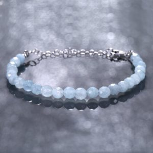 Shop Aquamarine Bracelets! Natural Aquamarine Bracelet *Beaded Bracelet* Aquamarine Beads Bracelet, Birthday Gift for Her *Women's Day Special* | Natural genuine Aquamarine bracelets. Buy crystal jewelry, handmade handcrafted artisan jewelry for women.  Unique handmade gift ideas. #jewelry #beadedbracelets #beadedjewelry #gift #shopping #handmadejewelry #fashion #style #product #bracelets #affiliate #ad