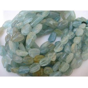 10mm-14mm Aquamarine Nugget, Aquamarine Nugget Beads, Aquamarine Plain Tumbles For Jewelry, Blue Nugget, 8 Inch Strand, 15 Pieces Approx | Natural genuine chip Aquamarine beads for beading and jewelry making.  #jewelry #beads #beadedjewelry #diyjewelry #jewelrymaking #beadstore #beading #affiliate #ad