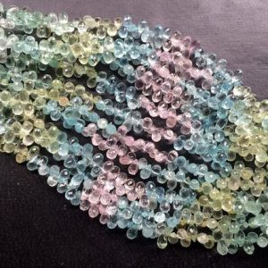 5x7mm Multi Aquamarine Faceted Tear Drop Beads, Natural Multi Aquamarine Faceted Drop Briolette For Jewelry (15Pcs To 30Pcs Options) | Natural genuine other-shape Gemstone beads for beading and jewelry making.  #jewelry #beads #beadedjewelry #diyjewelry #jewelrymaking #beadstore #beading #affiliate #ad