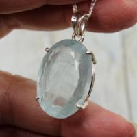 Big Beautiful Natural Cut Aquamarine Stone Pendant Amazing Color And Clarity Oval Shape Cut Stone Faceted On Sterling Silver 925 Flat Top | Natural genuine Gemstone jewelry. Buy crystal jewelry, handmade handcrafted artisan jewelry for women.  Unique handmade gift ideas. #jewelry #beadedjewelry #beadedjewelry #gift #shopping #handmadejewelry #fashion #style #product #jewelry #affiliate #ad