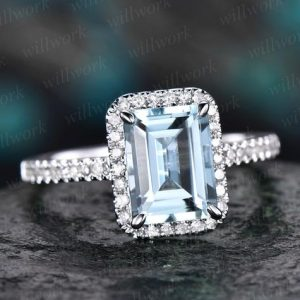 Emerald cut aquamarine engagement ring 14k white gold real diamond antique gift women March birthstone promise wedding bridal ring for her | Natural genuine Array rings, simple unique alternative gemstone engagement rings. #rings #jewelry #bridal #wedding #jewelryaccessories #engagementrings #weddingideas #affiliate #ad