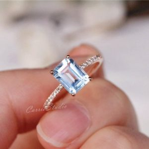 Solid 14K Gold Aquamarine Ring Aquamarine Engagement Ring Wedding Ring Promise Ring Anniversary Ring | Natural genuine Array rings, simple unique alternative gemstone engagement rings. #rings #jewelry #bridal #wedding #jewelryaccessories #engagementrings #weddingideas #affiliate #ad