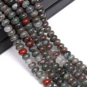 "Shop Bloodstone Beads! African Bloodstone Smooth Rondelle Beads 5x8mm 6x10mm 15.5"" Strand 