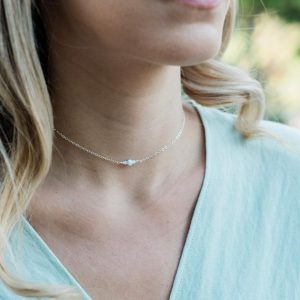 """Shop Blue Lace Agate Necklaces! Dainty blue lace agate gemstone thin choker necklace in bronze, silver, gold or rose gold – 12"""" with 2"""" adjustable extender 