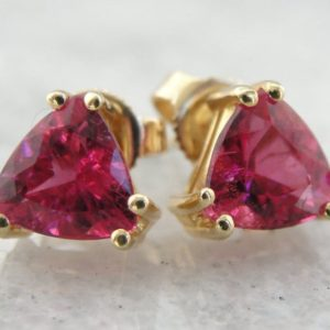 Brilliant Watermelon Pink Tourmaline Earrings, Yellow Gold Studs – QH6085-P | Natural genuine Array earrings. Buy crystal jewelry, handmade handcrafted artisan jewelry for women.  Unique handmade gift ideas. #jewelry #beadedearrings #beadedjewelry #gift #shopping #handmadejewelry #fashion #style #product #earrings #affiliate #ad